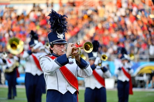 Sep 7, 2019; Boca Raton, FL, USA; Members of the Florida Atlantic Owls marching band perform prior to the game between the Florida Atlantic Owls and the UCF Knights at FAU Football Stadium. Mandatory Credit: Jasen Vinlove-USA TODAY Sports