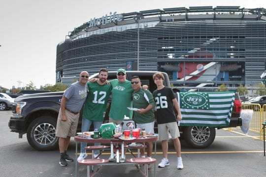 Sep 8, 2019; East Rutherford, NJ, USA; Fans tailgate outside at MetLife Stadium before a game between the New York Jets and the Buffalo Bills. Mandatory Credit: Vincent Carchietta-USA TODAY Sports