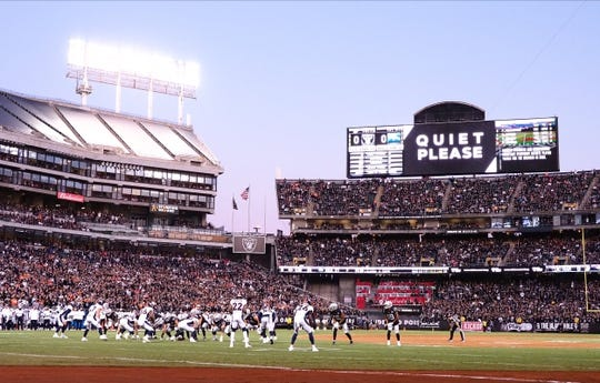 Sep 9, 2019; Oakland, CA, USA; The video board reads  quiet please  with Oakland Raiders on offense against the Denver Broncos during the first quarter at Oakland Coliseum. Mandatory Credit: Kelley L Cox-USA TODAY Sports