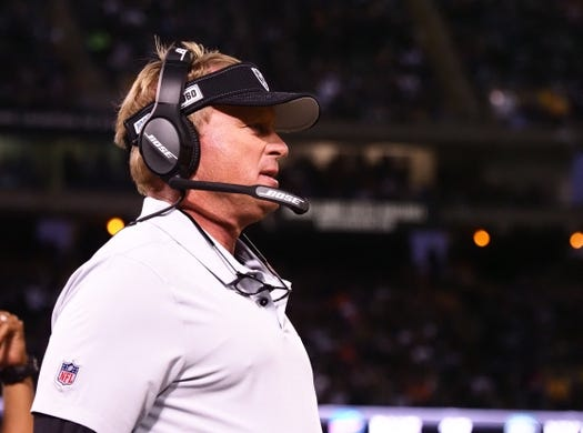 Sep 9, 2019; Oakland, CA, USA; Oakland Raiders head coach Jon Gruden on the sideline during the first quarter against the Denver Broncos at Oakland Coliseum. Mandatory Credit: Kelley L Cox-USA TODAY Sports