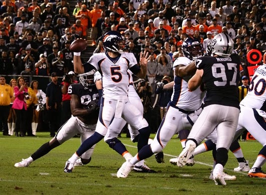 Sep 9, 2019; Oakland, CA, USA; Denver Broncos quarterback Joe Flacco (5) throws the ball against the Oakland Raiders during the first quarter at Oakland Coliseum. Mandatory Credit: Kelley L Cox-USA TODAY Sports