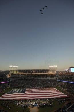 Sep 9, 2019; Oakland, CA, USA; General overall view of a flyover at the Oakland-Alameda County Coliseum with a United States flag during the playing of the national anthem before the NFL game between the against the Denver Broncos and the against the Oakland Raiders. Mandatory Credit: Kirby Lee-USA TODAY Sports