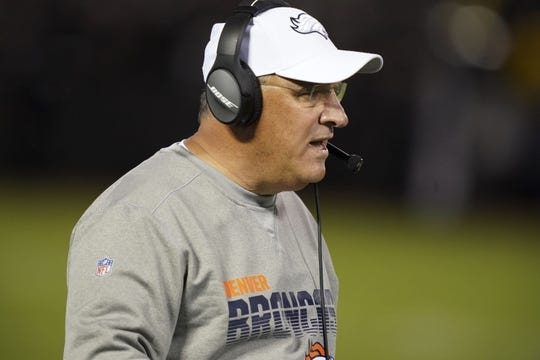 Sep 9, 2019; Oakland, CA, USA; Denver Broncos head coach Vic Fangio during the game against the Oakland Raiders at Oakland-Alameda County Coliseum. Mandatory Credit: Kirby Lee-USA TODAY Sports