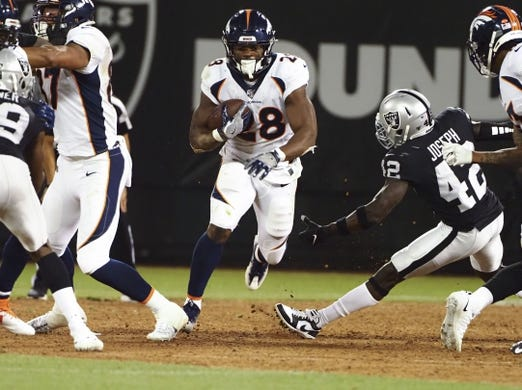 Sep 9, 2019; Oakland, CA, USA; Denver Broncos running back Royce Freeman (28) carries the ball against the Oakland Raiders during the third quarter at Oakland Coliseum. Mandatory Credit: Kelley L Cox-USA TODAY Sports