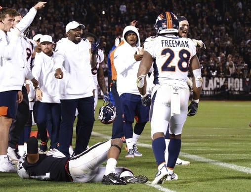 Sep 9, 2019; Oakland, CA, USA; Oakland Raiders cornerback Gareon Conley (21) down after a play against Denver Broncos running back Royce Freeman (28) during the third quarter at Oakland Coliseum. Mandatory Credit: Kelley L Cox-USA TODAY Sports