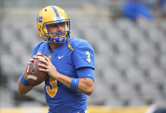 Sep 7, 2019; Pittsburgh, PA, USA;  Pittsburgh Panthers quarterback Jeff George Jr. (3) warms up before playing the Ohio Bobcats at Heinz Field. Pittsburgh won 20-10. Mandatory Credit: Charles LeClaire-USA TODAY Sports