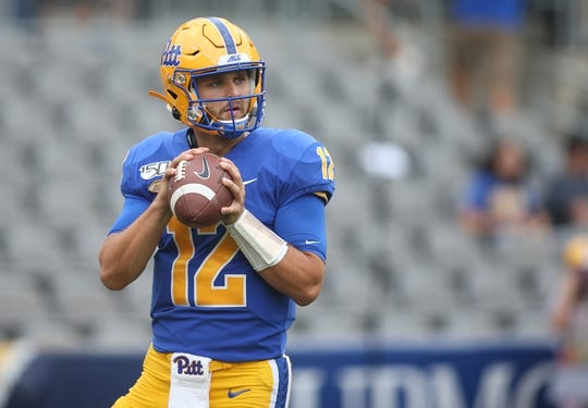 Sep 7, 2019; Pittsburgh, PA, USA;  Pittsburgh Panthers quarterback Nick Patti (12) warms up before playing the Ohio Bobcats at Heinz Field. Pittsburgh won 20-10. Mandatory Credit: Charles LeClaire-USA TODAY Sports