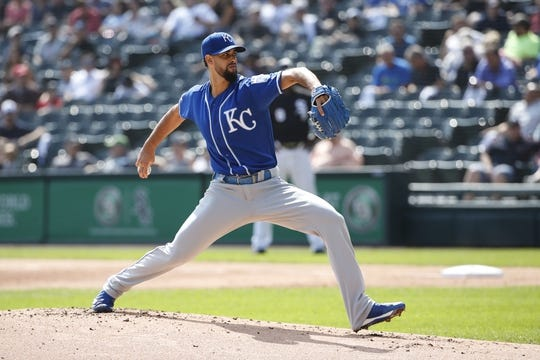 Sep 12, 2019; Chicago, IL, USA; Kansas City Royals starting pitcher Jorge Lopez (28) delivers against the Chicago White Sox during the first inning at Guaranteed Rate Field. Mandatory Credit: Kamil Krzaczynski-USA TODAY Sports