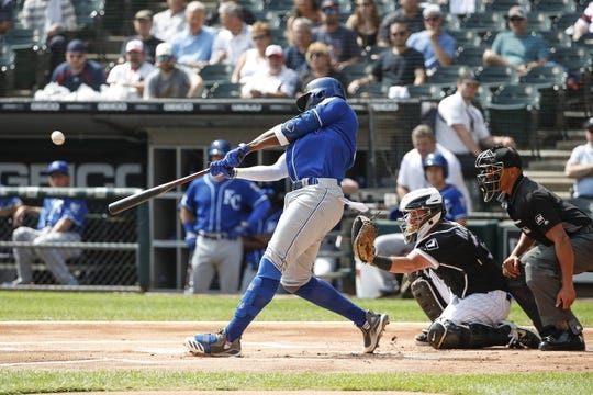 Sep 12, 2019; Chicago, IL, USA; Kansas City Royals right fielder Jorge Soler (12) hits a solo home run against the Chicago White Sox during the first inning at Guaranteed Rate Field. Mandatory Credit: Kamil Krzaczynski-USA TODAY Sports