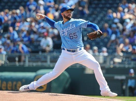 Sep 15, 2019; Kansas City, MO, USA; Kansas City Royals starting pitcher Jake Junis (65) pitches against the Houston Astros during the first inning at Kauffman Stadium. Mandatory Credit: Jay Biggerstaff-USA TODAY Sports