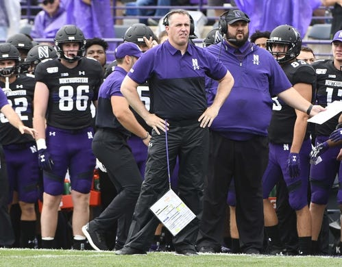 Sep 21, 2019; Evanston, IL, USA; Northwestern Wildcats head coach  Pat Fitzgerald looks on against the Michigan State Spartans during the first half at Ryan Field. Mandatory Credit: Matt Marton-USA TODAY Sports