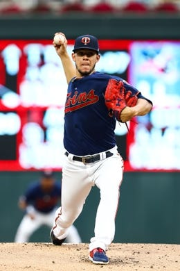 Sep 21, 2019; Minneapolis, MN, USA; Minnesota Twins starting pitcher Jose Berrios (17) delivers a pitch against the Kansas City Royals at Target Field. Mandatory Credit: David in the first inning Berding-USA TODAY Sports