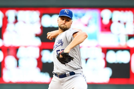 Sep 21, 2019; Minneapolis, MN, USA; Kansas City Royals starting pitcher Glenn Sparkman (57) delivers a pitch against the Minnesota Twins in the first inning at Target Field. Mandatory Credit: David Berding-USA TODAY Sports