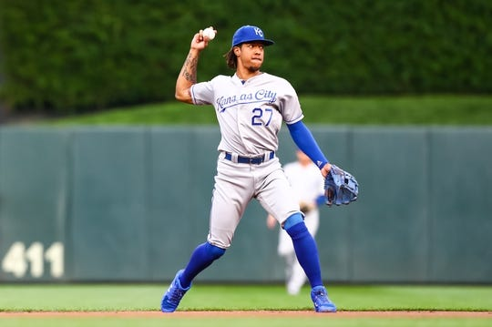 Sep 21, 2019; Minneapolis, MN, USA; Kansas City Royals shortstop Adalberto Mondesi (27) throws the ball to first base for an out against the Minnesota Twins in the second inning at Target Field. Mandatory Credit: David Berding-USA TODAY Sports