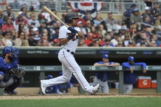 Sep 22, 2019; Minneapolis, MN, USA;  Minnesota Twins center fielder LaMonte Wade Jr (30) singles during the first inning against the Kansas City Royals at Target Field. Mandatory Credit: Marilyn Indahl-USA TODAY Sports