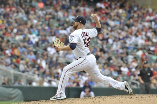 Sep 22, 2019; Minneapolis, MN, USA;  Minnesota Twins pitcher Zack Littell (52) delivers a pitch during the fourth inning against the Kansas City Royals at Target Field. Mandatory Credit: Marilyn Indahl-USA TODAY Sports