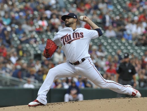 Sep 22, 2019; Minneapolis, MN, USA;  Minnesota Twins pitcher Martin Perez (33) delivers a pitch against the Kansas City Royals during the first inning at Target Field. Mandatory Credit: Marilyn Indahl-USA TODAY Sports