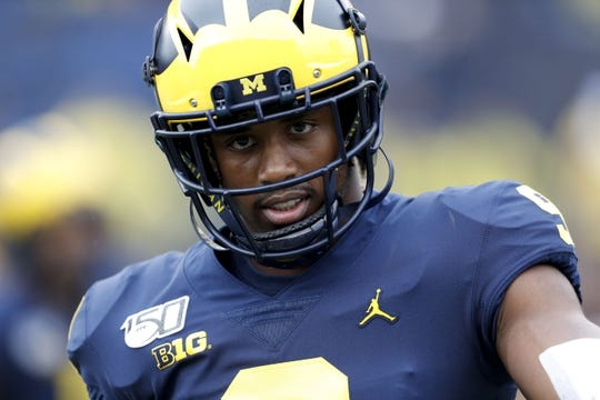 Sep 28, 2019; Ann Arbor, MI, USA; Michigan Wolverines wide receiver Donovan Peoples-Jones (9) walks on the field before the game against the Rutgers Scarlet Knights at Michigan Stadium. Mandatory Credit: Raj Mehta-USA TODAY Sports