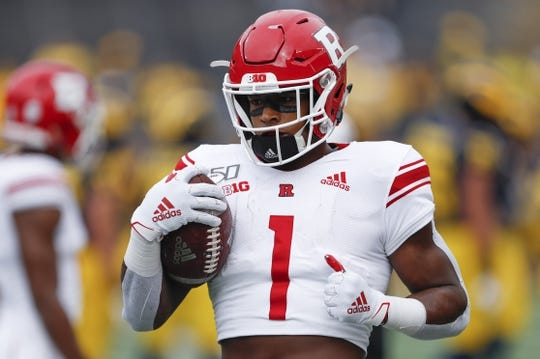 Sep 28, 2019; Ann Arbor, MI, USA; Rutgers Scarlet Knights Isaih Pacheco (1) warms up before the game against the Michigan Wolverines at Michigan Stadium. Mandatory Credit: Raj Mehta-USA TODAY Sports