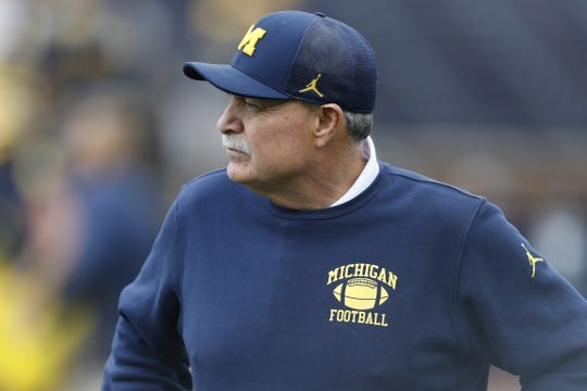 Sep 28, 2019; Ann Arbor, MI, USA; Michigan Wolverines defensive coordinator Don Brown looks on before the game against the Rutgers Scarlet Knights at Michigan Stadium. Mandatory Credit: Raj Mehta-USA TODAY Sports