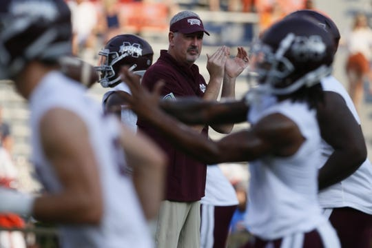 Sep 28, 2019; Auburn, AL, USA;  Mississippi State Bulldogs head coach Joe Moorehead watches his during warmups before the game against the Auburn Tigers at Jordan-Hare Stadium. Mandatory Credit: John Reed-USA TODAY Sports