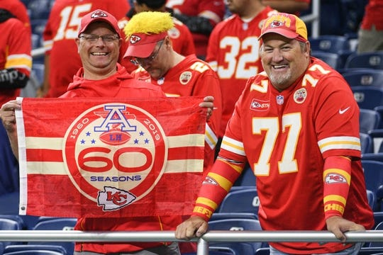 Sep 29, 2019; Detroit, MI, USA; Kansas City Chiefs fans before the game against the Detroit Lions at Ford Field. Mandatory Credit: Tim Fuller-USA TODAY Sports