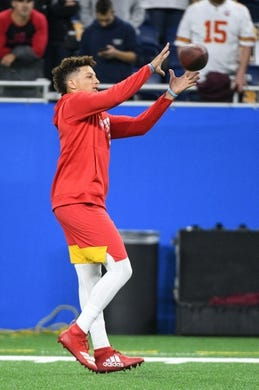Sep 29, 2019; Detroit, MI, USA; Kansas City Chiefs quarterback Patrick Mahomes (15) warms up before the game against the Detroit Lions at Ford Field. Mandatory Credit: Tim Fuller-USA TODAY Sports