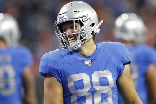Sep 29, 2019; Detroit, MI, USA; Detroit Lions tight end T.J. Hockenson (88) smiles before the game against the Kansas City Chiefs at Ford Field. Mandatory Credit: Raj Mehta-USA TODAY Sports