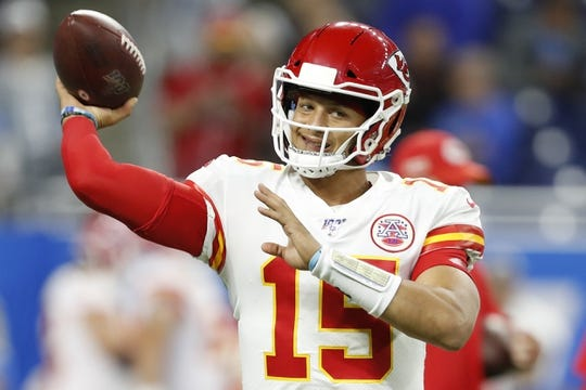 Sep 29, 2019; Detroit, MI, USA; Kansas City Chiefs quarterback Patrick Mahomes (15) warms up before the game against the Detroit Lions at Ford Field. Mandatory Credit: Raj Mehta-USA TODAY Sports