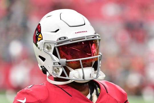 Sep 29, 2019; Glendale, AZ, USA; Arizona Cardinals quarterback Kyler Murray (1) looks on prior to the game against the Seattle Seahawks at State Farm Stadium. Mandatory Credit: Matt Kartozian-USA TODAY Sports