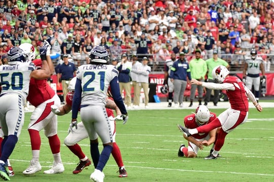 Sep 29, 2019; Glendale, AZ, USA; Arizona Cardinals kicker Zane Gonzalez (5) misses a field goal during the first half against the Seattle Seahawks at State Farm Stadium. Mandatory Credit: Matt Kartozian-USA TODAY Sports