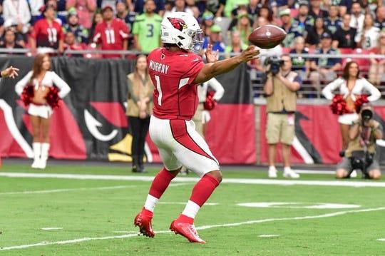 Sep 29, 2019; Glendale, AZ, USA; Arizona Cardinals quarterback Kyler Murray (1) throws in the first half against the Seattle Seahawks at State Farm Stadium. Mandatory Credit: Matt Kartozian-USA TODAY Sports