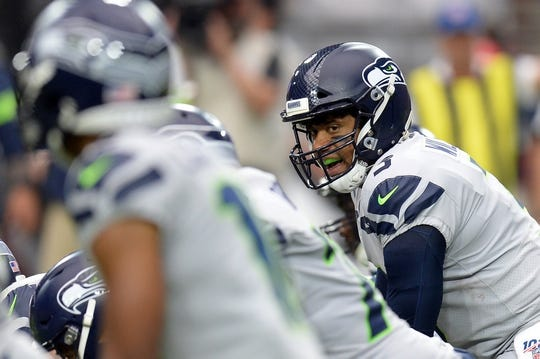 Sep 29, 2019; Glendale, AZ, USA; Seattle Seahawks quarterback Russell Wilson (3) calls signals against the Arizona Cardinals during the second half at State Farm Stadium. Mandatory Credit: Joe Camporeale-USA TODAY Sports