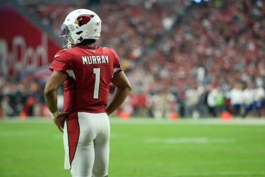 Sep 29, 2019; Glendale, AZ, USA; Arizona Cardinals quarterback Kyler Murray (1) looks on against the Seattle Seahawks during the first half at State Farm Stadium. Mandatory Credit: Joe Camporeale-USA TODAY Sports