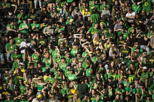 Oct 5, 2019; Eugene, OR, USA; Oregon Ducks fans watch the home team warm up before a game against the California Golden Bears at Autzen Stadium. Mandatory Credit: Troy Wayrynen-USA TODAY Sports