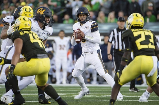 Oct 5, 2019; Eugene, OR, USA; California Golden Bears quarterback Devon Modster (6) looks for an open receiver during the first half against the Oregon Ducks at Autzen Stadium. Mandatory Credit: Troy Wayrynen-USA TODAY Sports
