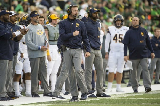 Oct 5, 2019; Eugene, OR, USA; California Golden Bears head coach Justin Wilcox reacts after his team missed making a first down during the first half against the Oregon Ducks at Autzen Stadium. Oregon won the game 17-7. Mandatory Credit: Troy Wayrynen-USA TODAY Sports