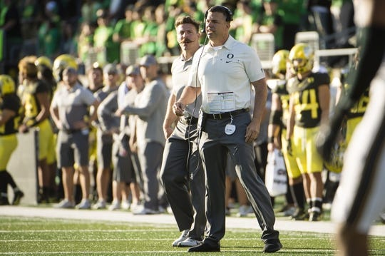 Oct 5, 2019; Eugene, OR, USA; Oregon Ducks head coach Mario Cristobal works the sidelines during the first half against the California Golden Bears at Autzen Stadium. Oregon won the game 17-7. Mandatory Credit: Troy Wayrynen-USA TODAY Sports