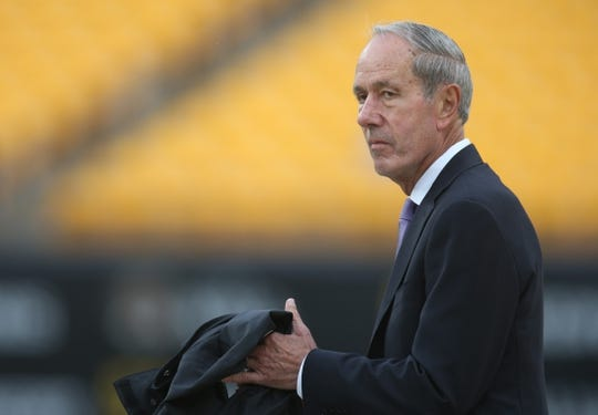 Oct 6, 2019; Pittsburgh, PA, USA; Baltimore Ravens president Dick Cass looks on before the Pittsburgh Steelers host the Ravens at Heinz Field. Mandatory Credit: Charles LeClaire-USA TODAY Sports