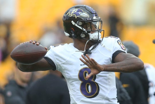 Oct 6, 2019; Pittsburgh, PA, USA; Baltimore Ravens quarterback Lamar Jackson (8) warms up before playing the Pittsburgh Steelers at Heinz Field. Mandatory Credit: Charles LeClaire-USA TODAY Sports