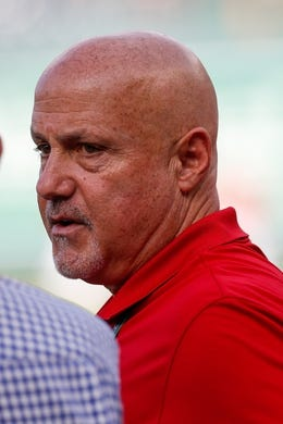 Oct 7, 2019; Washington, DC, USA; Washington Nationals general manager Mike Rizzo watches batting practice prior to game four of the 2019 NLDS playoff baseball series against the Los Angeles Dodgers at Nationals Park. Mandatory Credit: Geoff Burke-USA TODAY Sports