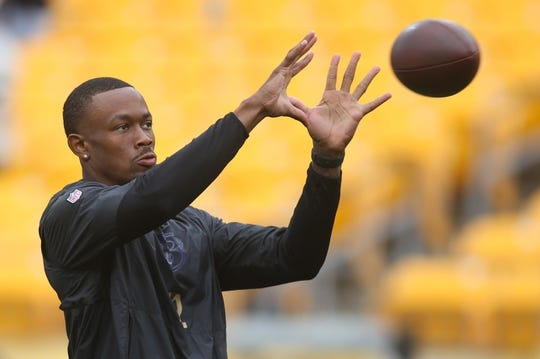 Oct 6, 2019; Pittsburgh, PA, USA;  Baltimore Ravens wide receiver Jaleel Scott (12) warms up before playing the Pittsburgh Steelers at Heinz Field. Baltimore won 26-23 in overtime. Mandatory Credit: Charles LeClaire-USA TODAY Sports