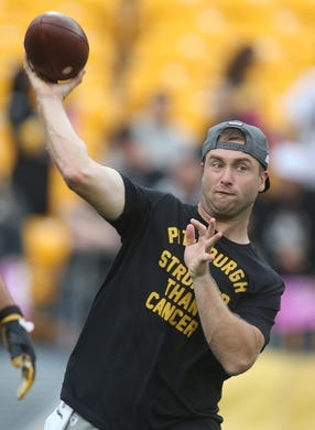 Oct 6, 2019; Pittsburgh, PA, USA;   Pittsburgh Steelers quarterback Devlin Hodges (6) warms up before playing the Baltimore Ravens at Heinz Field. Baltimore won 26-23 in overtime. Mandatory Credit: Charles LeClaire-USA TODAY Sports