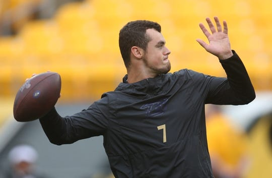 Oct 6, 2019; Pittsburgh, PA, USA;  Baltimore Ravens quarterback Trace McSorley (7) warms up before playing the Pittsburgh Steelers at Heinz Field. Baltimore won 26-23 in overtime. Mandatory Credit: Charles LeClaire-USA TODAY Sports