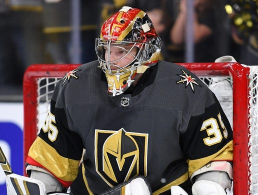 Oct 12, 2019; Las Vegas, NV, USA; Vegas Golden Knights goaltender Oscar Dansk (35) warms up before a game against the Calgary Flames at T-Mobile Arena. Mandatory Credit: Stephen R. Sylvanie-USA TODAY Sports