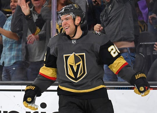 Oct 12, 2019; Las Vegas, NV, USA; Vegas Golden Knights center Paul Stastny (26) reacts after scoring a second period goal against the Calgary Flames at T-Mobile Arena. Mandatory Credit: Stephen R. Sylvanie-USA TODAY Sports