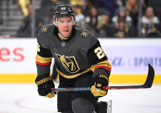 Oct 12, 2019; Las Vegas, NV, USA; Vegas Golden Knights center Paul Stastny (26) is pictured during the second period against the Calgary Flames at T-Mobile Arena. Mandatory Credit: Stephen R. Sylvanie-USA TODAY Sports