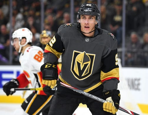 Oct 12, 2019; Las Vegas, NV, USA; Vegas Golden Knights left wing Tomas Nosek (92) looks on during the first period against the Calgary Flames at T-Mobile Arena. Mandatory Credit: Stephen R. Sylvanie-USA TODAY Sports