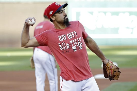 Oct 15, 2019; Washington, DC, USA; Washington Nationals third baseman Anthony Rendon throws the ball during batting practice prior to the Nationals  game against the St. Louis Cardinals in game four of the 2019 NLCS playoff baseball series at Nationals Park. Mandatory Credit: Geoff Burke-USA TODAY Sports