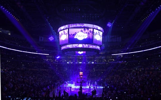 Oct 16, 2019; Los Angeles, CA, USA; General overall view of the Staples Center during an NBA game between the Los Angeles Lakers and the Golden State Warriors. Mandatory Credit: Kirby Lee-USA TODAY Sports
